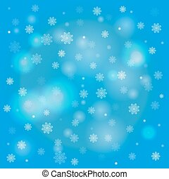 Snowflakes and blurry lights on blue background