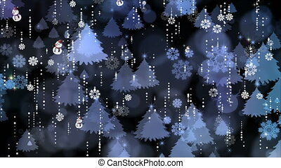 Snowflakes and Christmas Tree Background