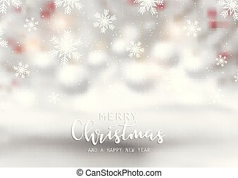 Snowflakes and decorative text on defocussed christmas background