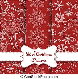 Snowflakes and derers seamless pattern set