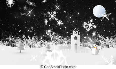 Snowflakes and sparkles falling against snowscape in ...