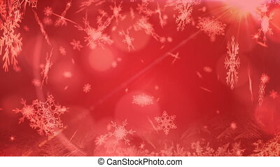 Snowflakes and spots of light moving against red background