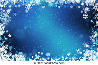 Snowflakes and stars background - Background of snowflakes...