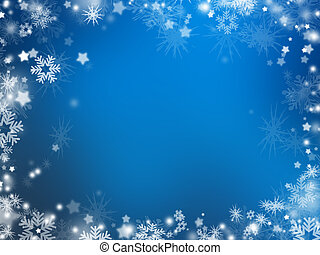 Background of many snowflakes and stars