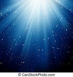 Snowflakes and stars descending blue light. EPS 8