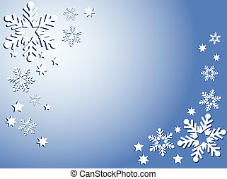 Snowflakes and stars - Snowflake and star background