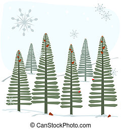 Snowflakes and trees - A winter scene with pine trees in the...