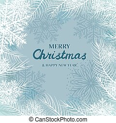 snowflakes and white spruce branches on blue background. Merry Christmas Greetings card