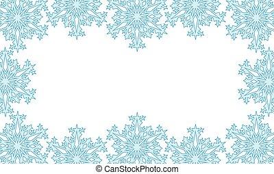 snowflakes., appliqué, silhouettes, fond, illustration., coupure, vecteur, mask.