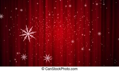 Snowflakes are falling against a red curtain background