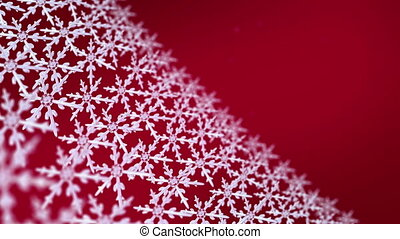snowflakes array tracking 4K red - Ice crystal snowflakes of...