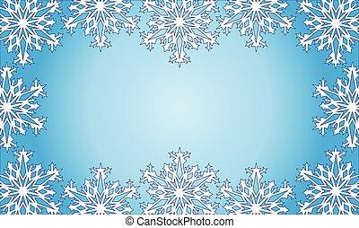 snowflakes., arrière-plan., beau, appliqué, cadre, noël, illustration., coupure, vecteur, mask.