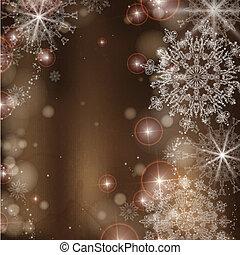 snowflakes., arrière-plan brun