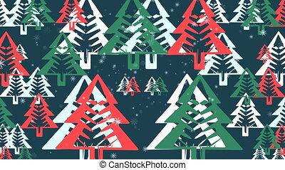 Snowflakes background Christmas tree