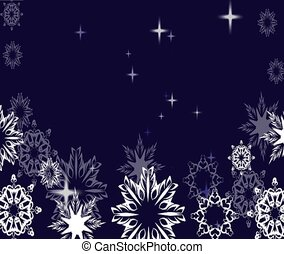 Snowflakes background with stars.