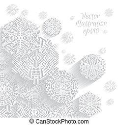 snowflakes., boże narodzenie, tło