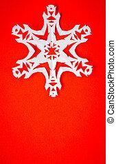 snowflakes, cartão postal, vindima, papel, verdadeiro, natal