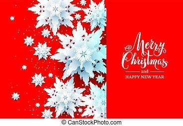Snowflakes Christmas design on red background