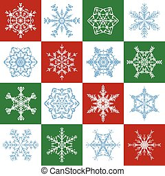 Snowflakes Christmas Red Green White Tile Pattern