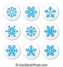 Snowflakes, Christmas vector icons