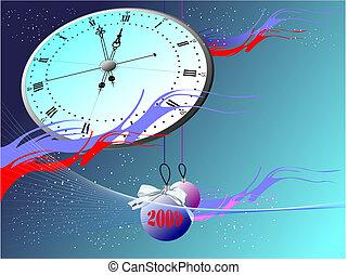Snowflakes, clock and balls. Christmas. Vector illustration