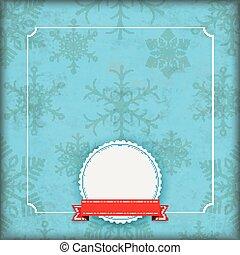 snowflakes, cobertura, emblema, azul, inverno, vindima