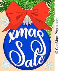 snowflakes, coloridos, cartaz, árvore, venda, luminoso, decorações, ramo, natal, fita