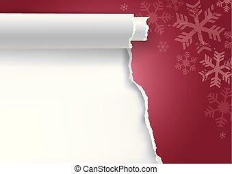 snowflakes., déchiré, papier, noël, fond