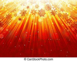 Snowflakes descending of golden light. EPS 8