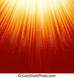 Snowflakes descending on golden light. EPS 8