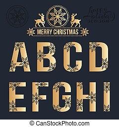 snowflakes., dorado, conjunto, navidad, alfabeto