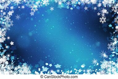 snowflakes, en, sterretjes, achtergrond