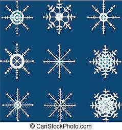 snowflakes., ensemble, noël, vecteur, design.