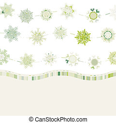 snowflakes., eps, レトロ, テンプレート, 8, カード