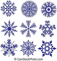Snowflakes Set - Blue Illustration, Vector