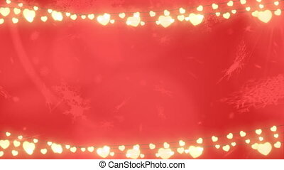 Snowflakes falling against glowing fairy lights on red background