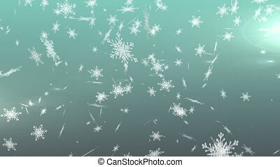 Snowflakes falling against green background