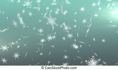 Snowflakes falling against green background - Digital ...