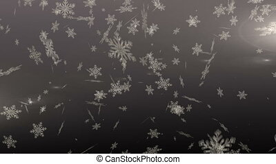 Snowflakes falling against grey background - Digitally ...