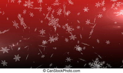 Snowflakes falling against red background