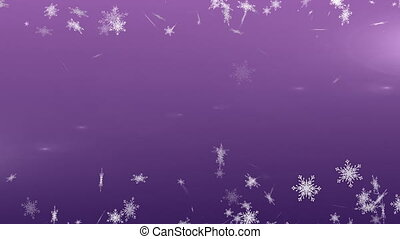 Snowflakes falling against violet background - Digital...
