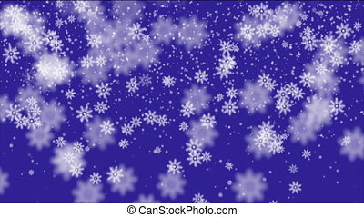 Snowflakes falling on blue background, seamless loop