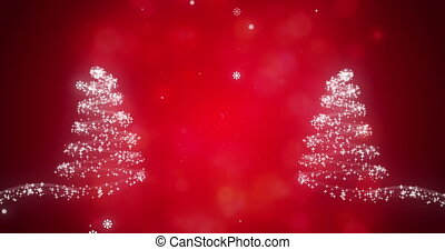Snowflakes falling on glowing Christmas trees against red background
