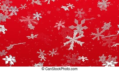 Snowflakes falling on red