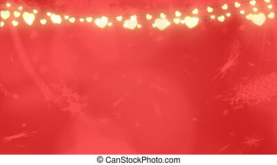 Snowflakes falling over glowing fairy lights red background