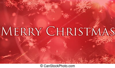 Snowflakes falling over Merry Christmas text against red background