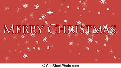 Snowflakes falling over Merry Christmas text on red background