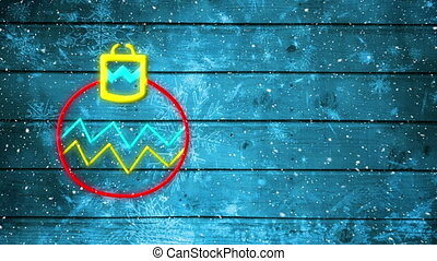 Animation of neon flashing Christmas bauble and snow falling on blue wooden rustic background. Christmas and New Years Eve celebration festivity concept digitally generated image.