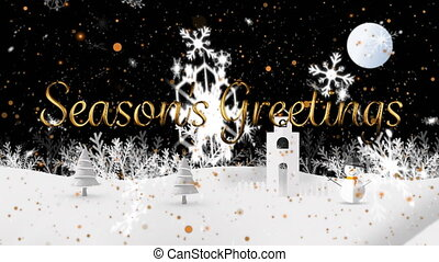 Animation of Seasons Greetings text with snowflakes falling and winter scenery. Christmas and New Years Eve celebration festivity concept digitally generated image.