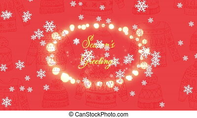 Animation of Seasons Greetings text with glowing fairy lights and snowflakes falling. Christmas and New Years Eve celebration festivity concept digitally generated image.